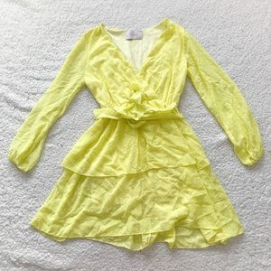 Blush boutique yellow dot embroidered belt dress